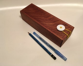Wooden Pencil Case With Button Closure - Mahogany