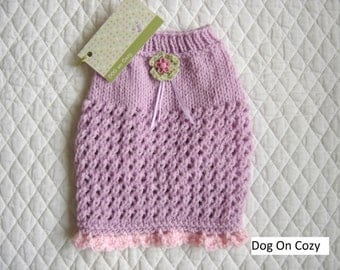 Lilac Dog Sweater, Textured Pet Sweater, Hand Knit Dog Sweater, Size SMALL, Topper Lilac