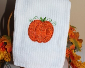 """Embroidered """"Country Pumpkin"""" Kitchen towel"""