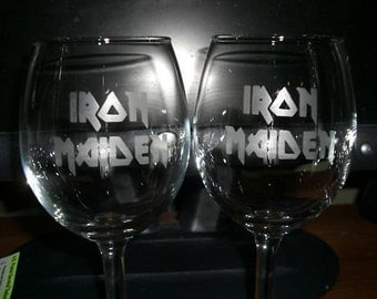 Set Of 2 Iron Maiden Wine Glasses