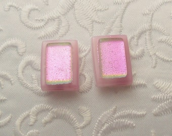 Pink Earrings - Button Earrings - Dichroic Earrings - Stud Earrings - Post Earrings - Small Earrings - Dichroic Fused Glass Earrings 1658