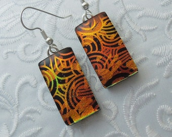 Dichroic Fused Glass Earrings - Glass Earrings - Dichroic Earrings - Dichroic Jewelry - Cute Earrings - Orange Earrings X7641
