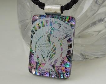 Ocean Scene Pendant - Dichroic Fused Glass Pendant - Fused Glass - Image Pendant - Dichroic Glass - Seaglass - Ocean Beach X8289