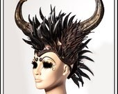 Ian… Aged Metal Horns with Mohawk... Brass Gold Pewter Headdress With Studs and Scales Armor