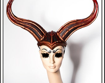 Impaled…. Black and Copper Foam Horns Headdress with Armor Accents and Blood