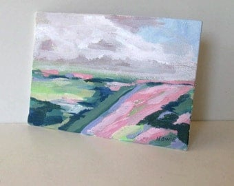 "Abstract Acrylic Landscape on canvas, 5"" x 7"", pastel, Expressionist, Impressionist, pink and light green, canvas panel, gift idea"
