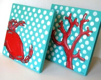 """Pair of nautical acrylic paintings on canvas, Coral and turquoise, Beach Cottage Decor, Crab, Reef Coral, original art, 12"""" x 12"""", gift idea"""