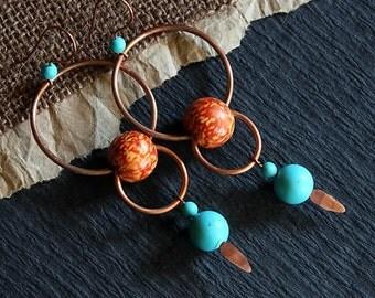 Boho Jewelry, Copper Hoops