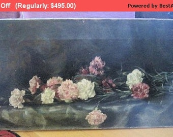 Summer SALE- Antique Roses Oil Painting Still Life Victorian