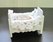 Polymer Clay Baby Doll 1.5 inch  with White Crib, White Knitted Hat and Crocheted  Blanket