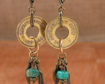 Coin Jewelry - Upcycled Coin Earrings - Authentic Amusement Token w/ Turquoise and Feather Charm Dangle Earrings - Repurposed Coin Earrings