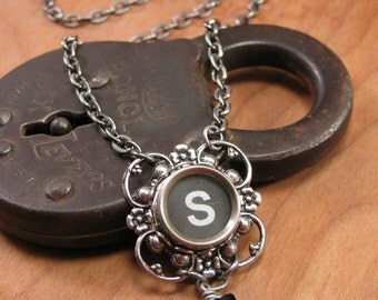 Typewriter Key Jewelry - Lucky Clover Authentic Black Initial S Typewriter Key Pendant Necklace - Type Key Necklace