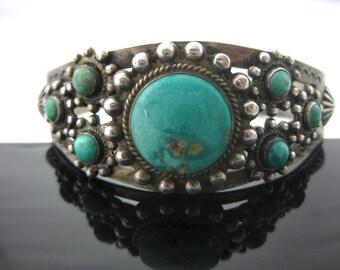Vintage Sterling Silver Multi Stone Turquoise Southwest Cuff Bracelet