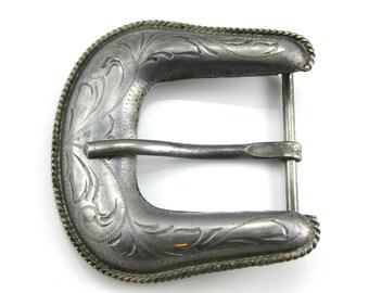 Large Vintage Silver Plate Belt Buckle