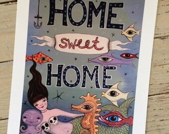 Home Sweet Home Mermaid Print by Patti Backer