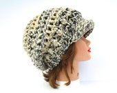 Crochet Cap - Moonlight Hat With Brim - Chunky Newsboy Hat - Women's Hat - Brimmed Beanie - Slouchy Cap - Crochet Accessories