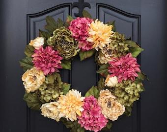 Spring Dahlia Wreath - Spring Hydrangea Wreath - Spring Peony Wreath - Spring Wreath