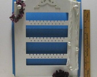 Wooden Jewelry Rack Wall Hung, Vintage Wood Spoon Rack Style Display, Vanity Organizer Jewelry Butler Painted White