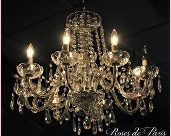 Romantic vintage chandelier  lass and crystal 7 arms loaded with crystals and beads * Paris Chic and so Glam