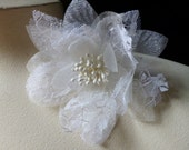 Lace Flower in Cream Lace and Net for Bridal, Sashes, Shoes, Headbands,  Headpieces, Corsages