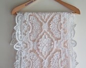 """Antique Italian Lace Table Runner Point de Venise in White Handmade Needle Lace 59"""" x 16"""""""