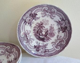 Antique Purple Transferware Saucer/Fruit Dish 19th Century England