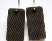 Charcoal Chevron, herringbone, zig zag, black and white, feather patterns, weave, domino earrings