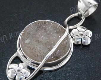 "1 3/4"" Agate Druzy Drusy 925 Sterling Silver Pendant"