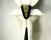 Antique 1930's Black and Gold Dangle Necklace, Art Deco w Pearls In the Beaded Chain, Very Traditional Early 20th Century