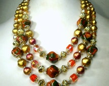 Mad Men Gorgeous Artsy Gold, Orange and Green 3 Strand Necklace, 1960s, W Germany, Magnificent and Showy Beads