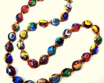 Vintage Millefiori Necklace, Venetian Murano Glass Multicolored Beads. 1960s, Round Dot Eyebead w Star Millefiore Pattern, Gold Beadcaps