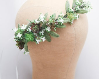 Flower Crown of Succulents and White Flowers, Floral Wedding Headband, Flower Headpiece Rustic Bridal Flower Wreath of Green Succulents