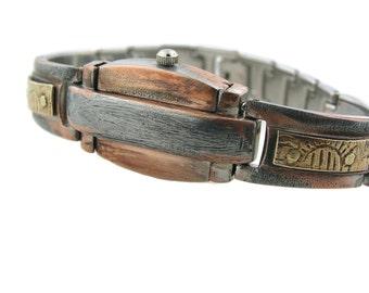 Women's Sliding hidden secret brass watch, blue Dial l wrist watch handmade metal  bracelet metal hand made lady