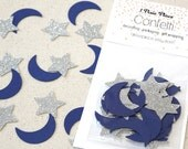 Blue Moon and Silver Stars Glitter Confetti - Baby Showers, Table confetti, Party Decorations