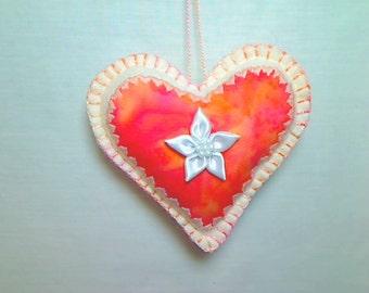 Peach Felt Heart Ornament | Valentines Day | Spring Decor | Holidays | Handmade | Wedding Bridal | Party Favor | Tree Ornament | #2
