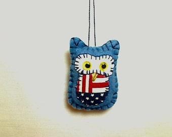 Americana Miniature Owl Ornament   Felt Owl   Decoration   Primitive Folk Art   July 4th   Party Favor   Tree Ornament   Holidays    #5