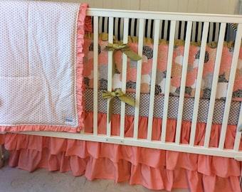 Crib Bedding Set Coral Gold Gray and Black Shabby Chic Deposit