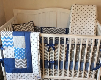 DEPOSIT Baby Boy Crib Bedding Denim Blue and Gray