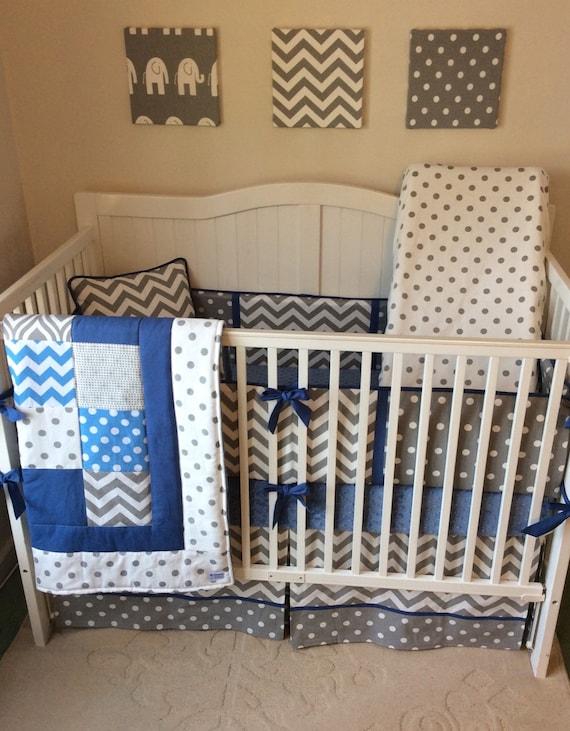 Baby Blue Bedroom Set: Baby Boy Crib Bedding Set Denim Blue And Gray