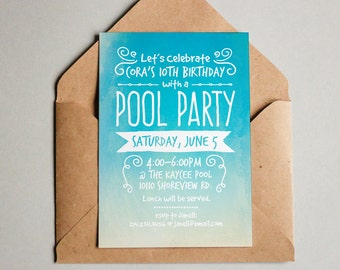PRINTABLE Beach themed pool party invitation for Girls Boys or Adults