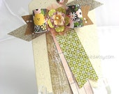 Whimsical Paper Bow XL Luxe Gift Tag~Hang Tag~Pretty Packaging~Deluxe gift tag~kraft~cream~honybee tag~birthday card~any occasion gift tag