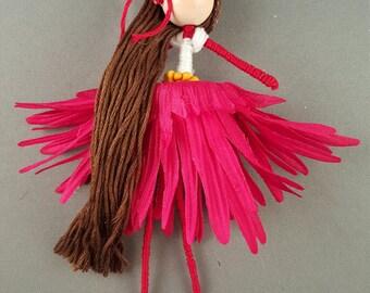 Pixie Red Skirt Brown Hair