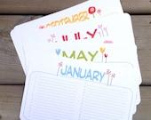 Perpetual Calendar, Wall Calendar, Flower Birthday Planner, Organizer for Her, Pretty Garden, Floral - single sheets