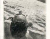 6 X 6 hand-pulled photopolymer intaglio print of a floating girl