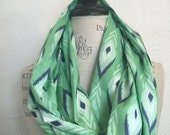 SALE Infinity Scarf - Blue and Green Cotton Voile Fabric - Modern Fashion Accessory - Ladies Teens Tweens
