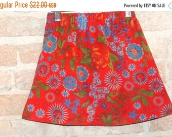SALE Whimsical European Red Floral Corduroy A-line Skirt - modern toddler girls clothing - kids winter fall fashion - sizes 2T 3T 4 5 6