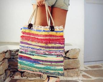 Beach Boho Bag. Large Tote Bag. Bright Colors. Boho Chic Style Kilim Bag. Hippie Bag. Book Bag. Shopping Bag. Womens Gift.