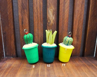 Tiny hand-sculpted cactus, succulent plant pendant