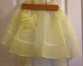Fancy Yellow Sheer Apron With Old Fashioned Roses