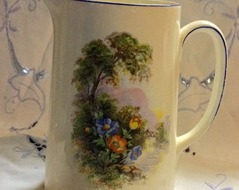 Quaint China Milk Pitcher Signed New Hall Hanley Staffordshire England